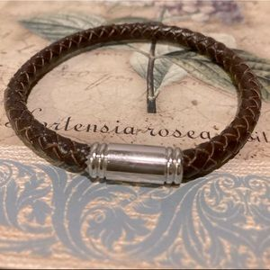 Jewelry - Braided Leather Bracelet with Magnetic Clasp